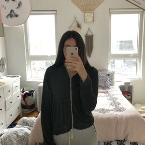 Brandy Melville charcoal grey zip up hoodie